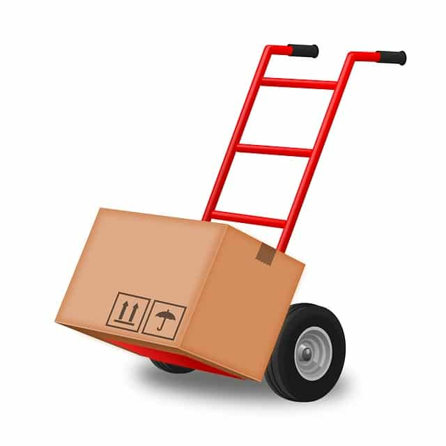 A hand truck with a box on it to illustrate how you can save time when moving