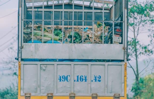 A lorry taking away rubbish.